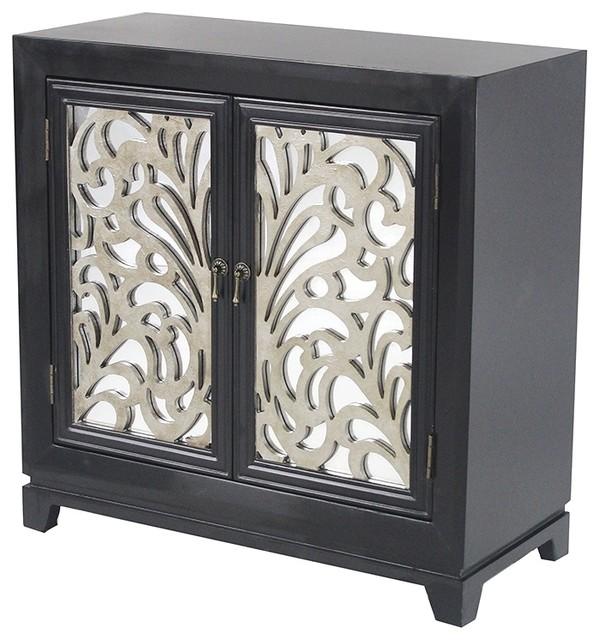 2-Door Sideboard, Mirror Inserts, MDF, Wood Mirrored Glass, Black .