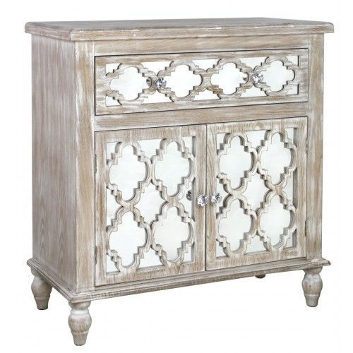 ANTIQUE STYLE WOOD SMALL SIDEBOARD WITH MIRRORED FRONT, MIRRORED .