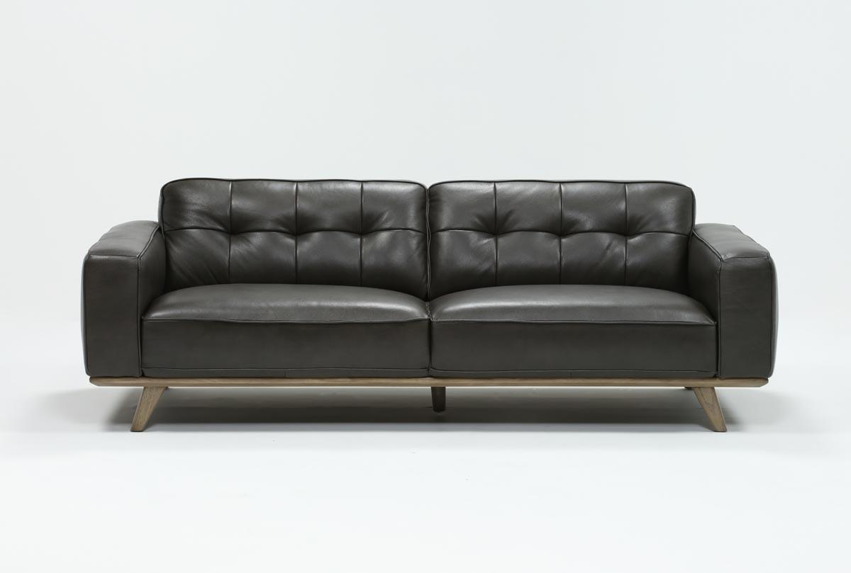 Caressa Leather Dark Grey Sofa Chairs