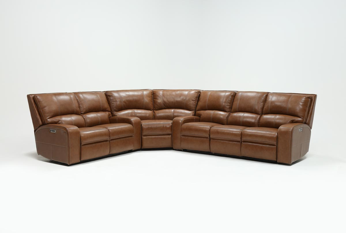 Clyde Saddle 3 Piece Power Reclining Sectionals With Power Headrest Usb