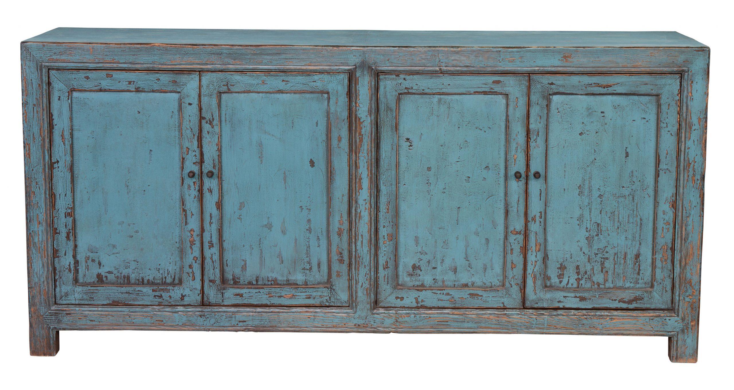 Reclaimed Pine Turquoise 4 Door Sideboards