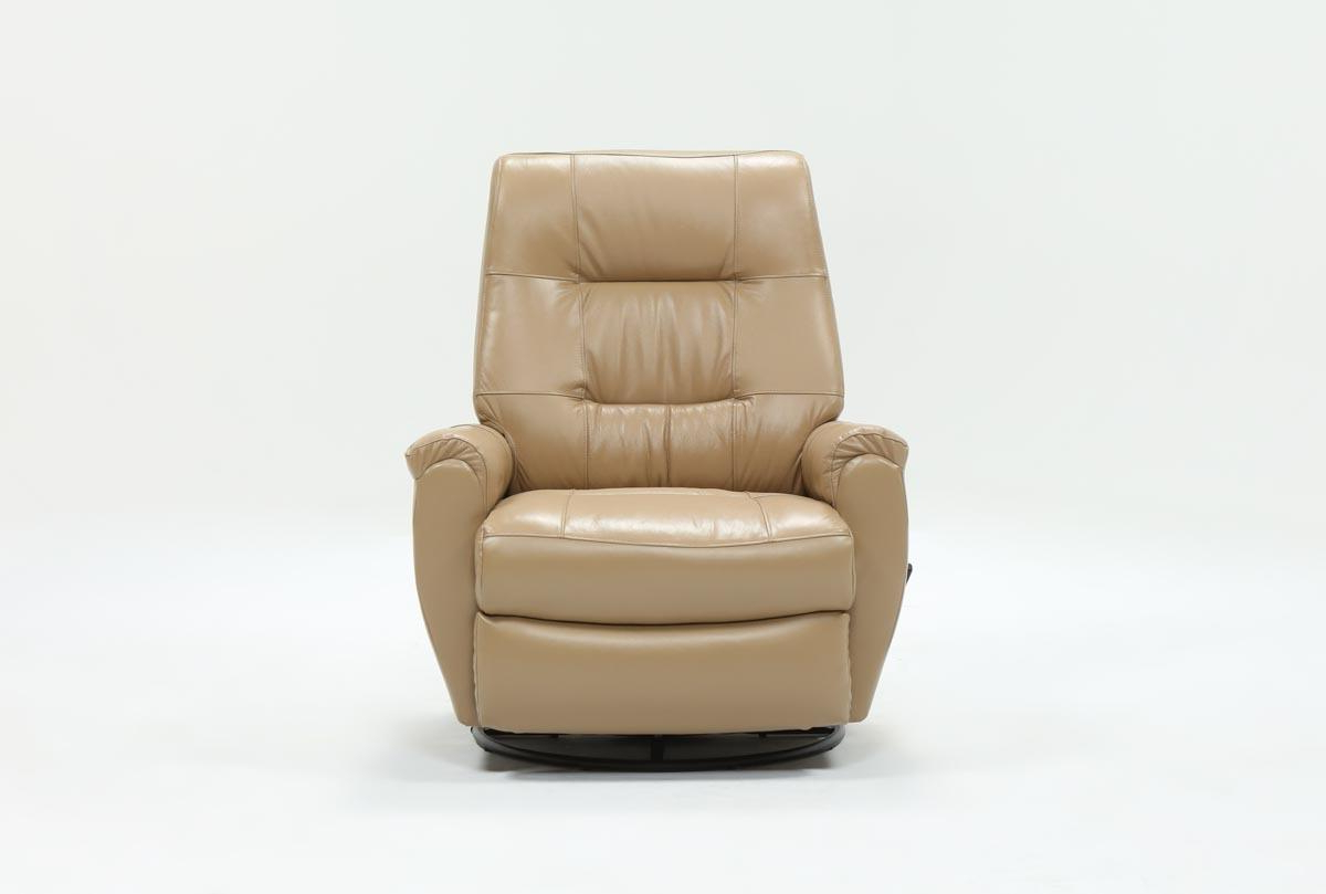Rogan Leather Cafe Latte Swivel Glider Recliners