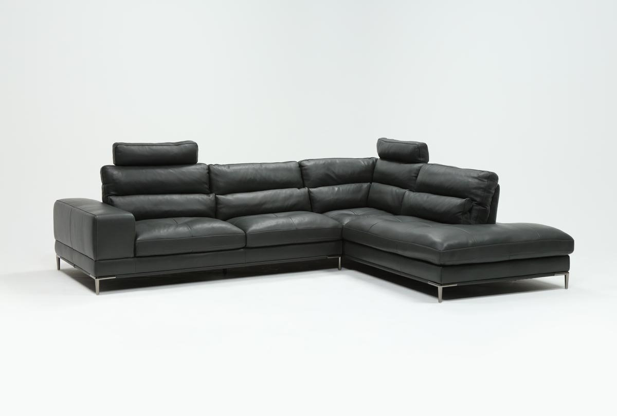 Tenny Cognac 2 Piece Left Facing Chaise Sectionals With 2 Headrest