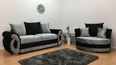 Chloe 3 Seater Sofa Cuddle Chair - Black & Silv