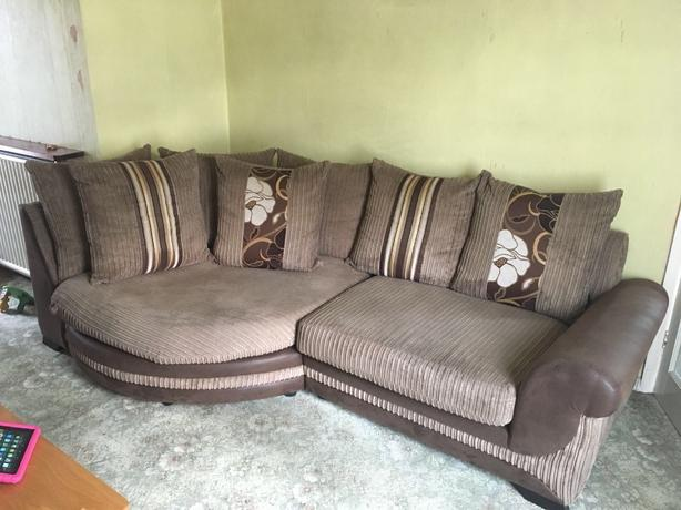 3 seater sofa and cuddle chair and half moon footstool Tipton, Dudl