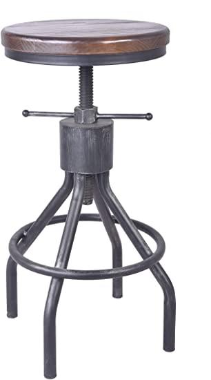 Amazon.com: LOKKHAN Adjustable Round Wood Metal Pipe Stool-Vintage .