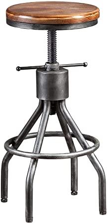 Amazon.com: LOKKHAN Industrial Bar Stool-Adjustable Swivel Round .