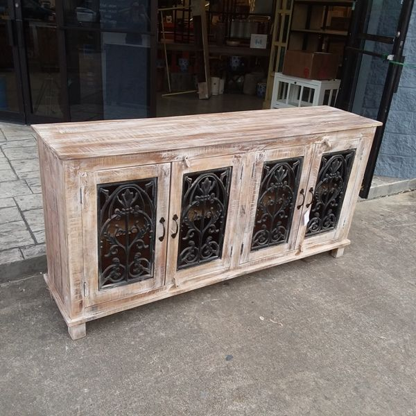 Four Door Cast Iron Jali Sideboard | Cast iron, Sideboard, Ir