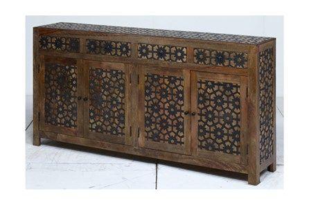 4-Door/4-Drawer Metal Inserts Sideboard | Sideboard buffet, Buffet .
