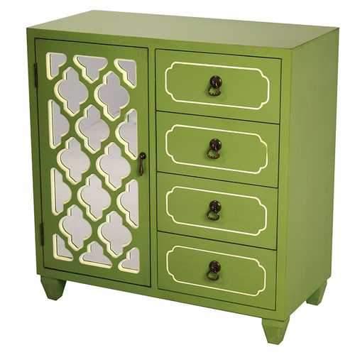 1-Door, 4-Drawer Sideboard W/ Arabesque Mirror Inserts - Mdf, Wood M