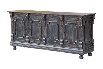 Antique Black Crown Mold 4 Door Sideboard | Living Spac