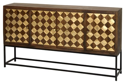 Mixed Brass Squares 4 Door Sideboard On Stand | Living Spac
