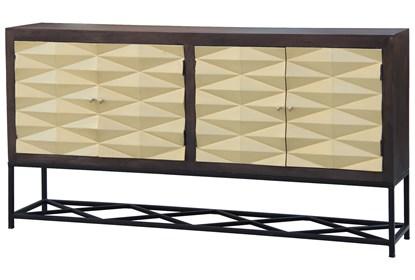Brass Front 3 Dimensional 4 Door Sideboard | Living Spac