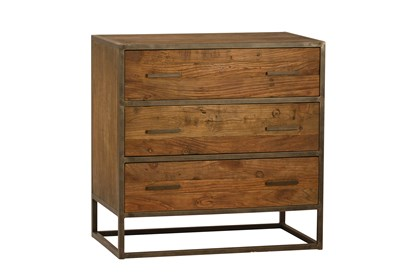 Burnt Oak Metal 3-Drawer Sideboard | Living Spac