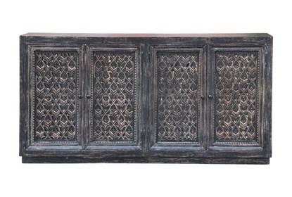 Antique Black Perforated 4 Door Sideboard | Living Spac