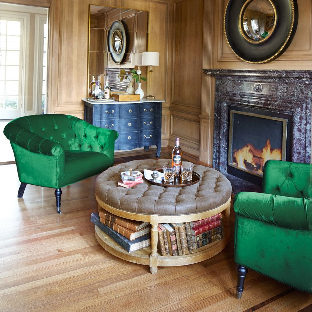 Round Button Tufted Coffee Tables