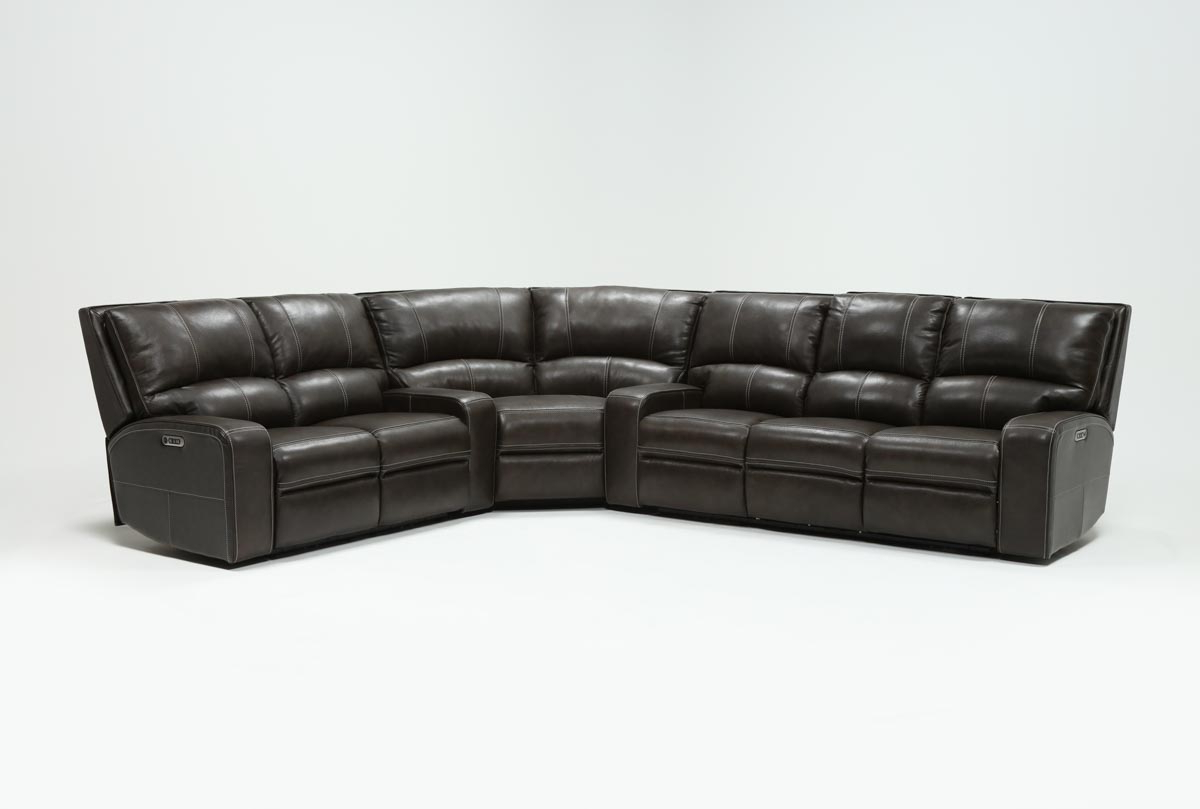 Clyde Grey Leather 3 Piece Power Reclining Sectionals With Pwr Hdrst Usb