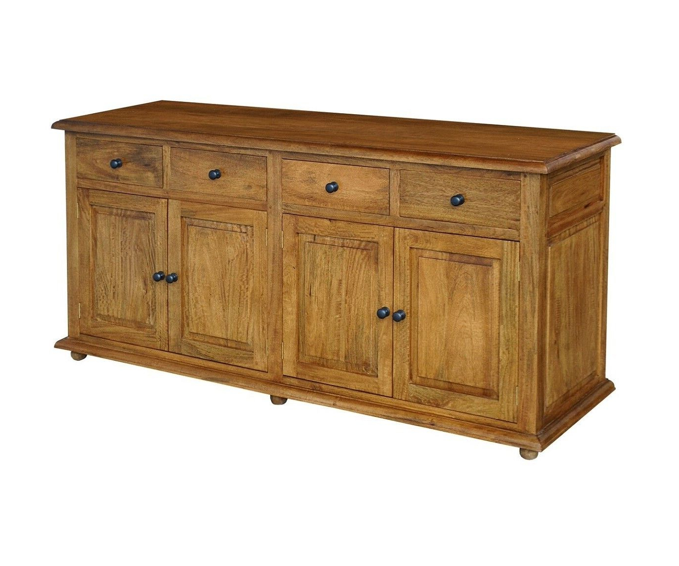Mango Wood Grey 4 Drawer 4 Door Sideboards
