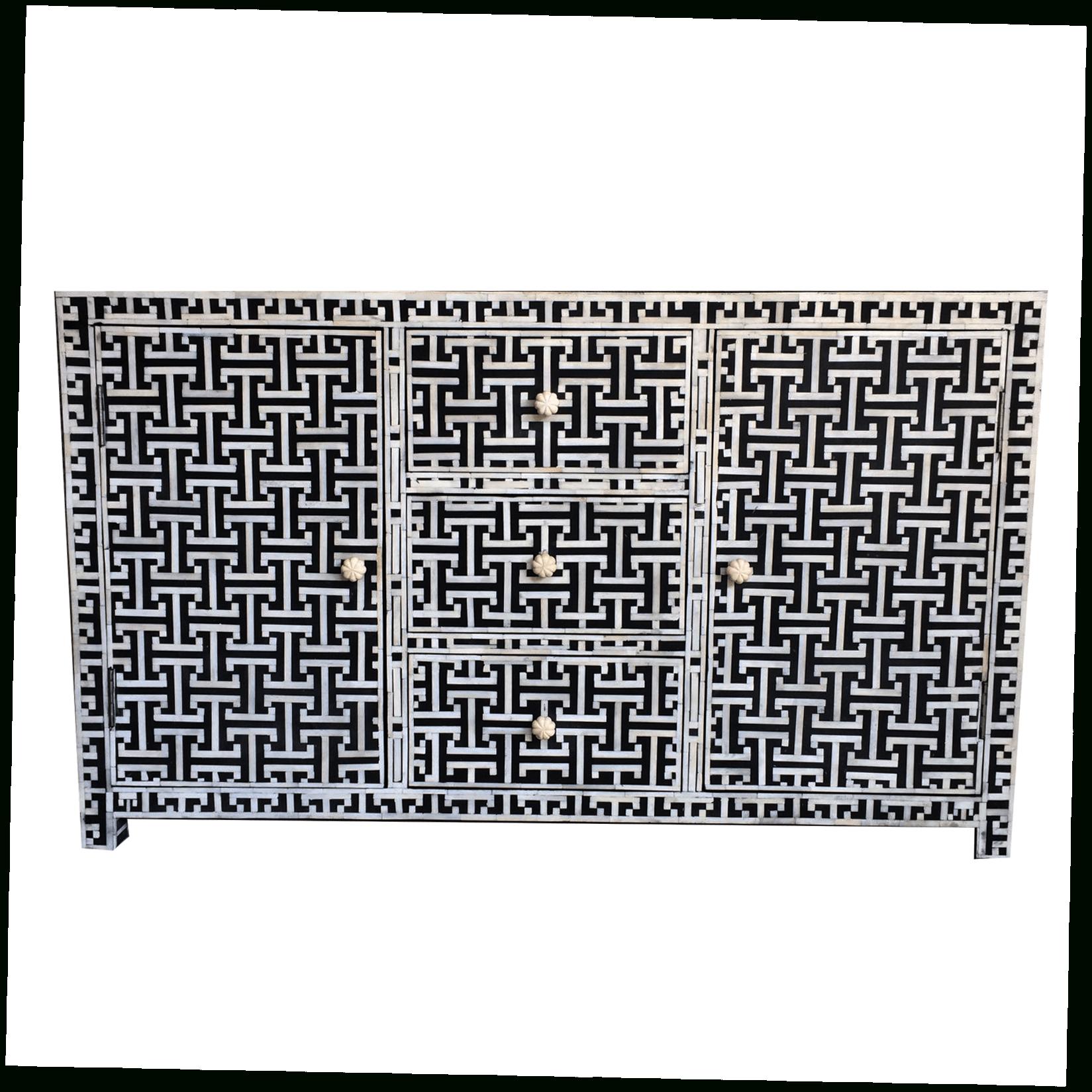 Geo Pattern Black And White Bone Inlay Sideboards