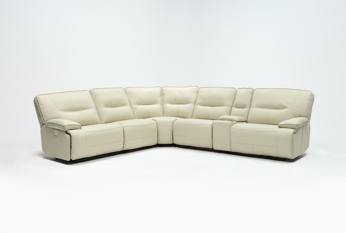 Marcus Oyster 6 Piece Sectionals With Power Headrest And Usb