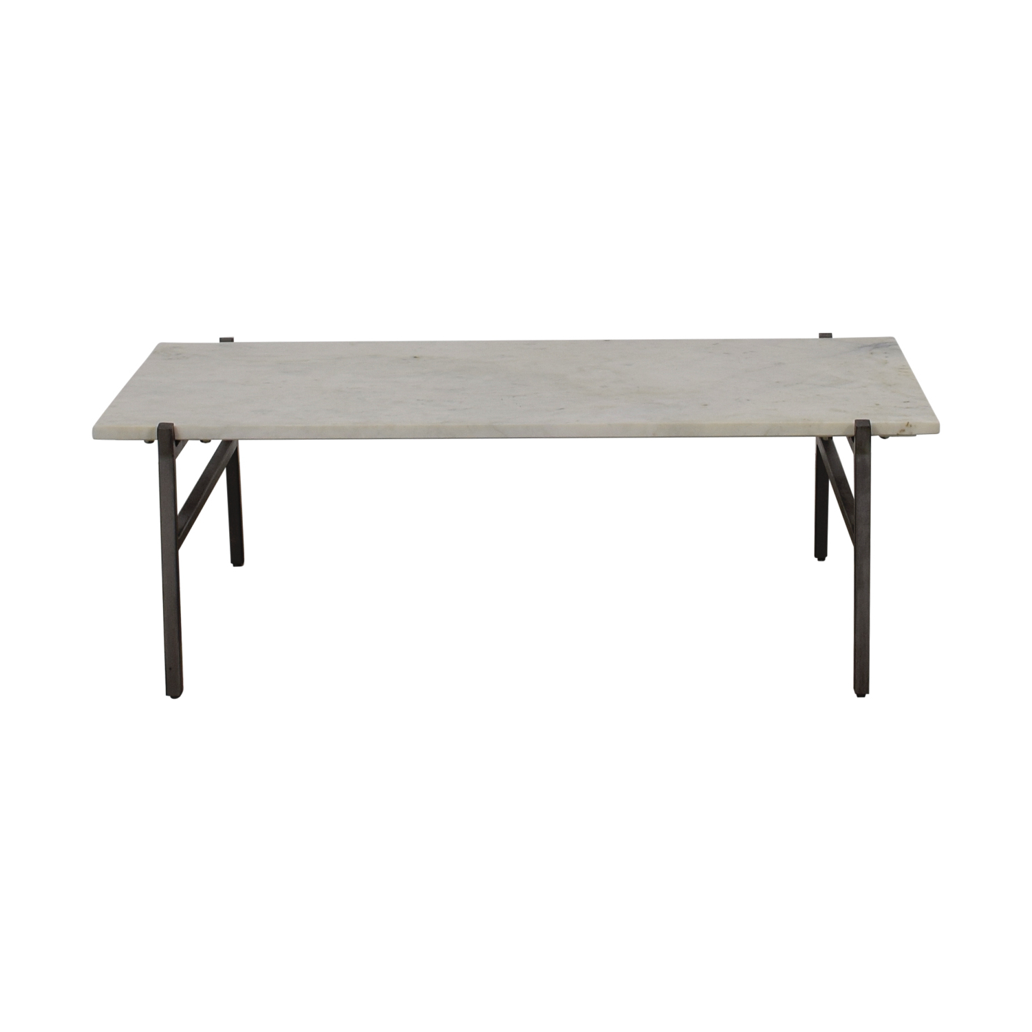 Slab Small Marble Coffee Tables With Antiqued Silver Base