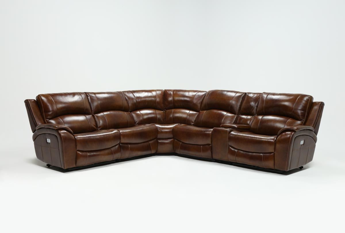 Travis Cognac Leather 6 Piece Power Reclining Sectionals With Power   Headrest Usb