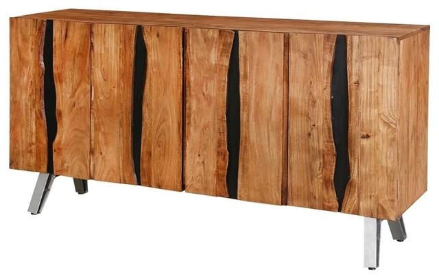 Saturn Acacia Wood 4 Door Large Live Edge Buffet - Contemporary .