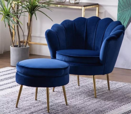China Light Luxury Living Room Furniture with Stainless Steel Blue .