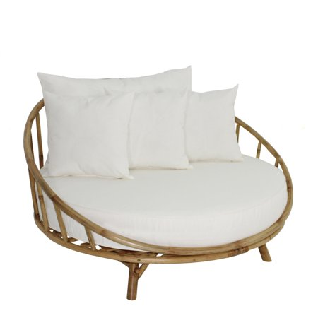 Statra Bamboo Round Accent Sofa Chair with Cushion and Throw .