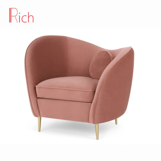 Comfortable Gold Metal Legs Accent Sofa Chair Fabric Pink Living .