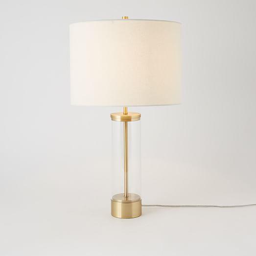 Acrylic Column Table Lamp - Antique Bra