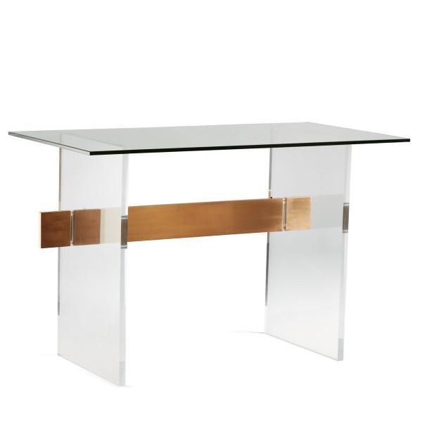 Acrylic Brushed Brass Panel Glass Coffee Tab