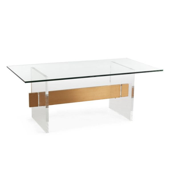 Acrylic, Glass And Brass Coffee Table | Wisteria | Coffee table .