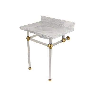 Kingston Brass Washstand 30 in. Console Table in Carrara Marble .