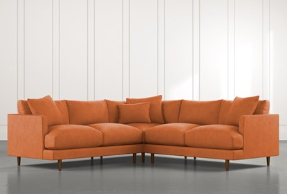 Adeline II Orange 3 Piece Sectional | Living Spac