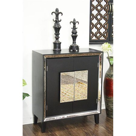 Avery 2-Door Sideboard with Antiqued Mirror Accents - Black .