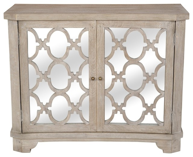 Lattice Whitewash 2 Door Mirrored Wood Small Sideboard .