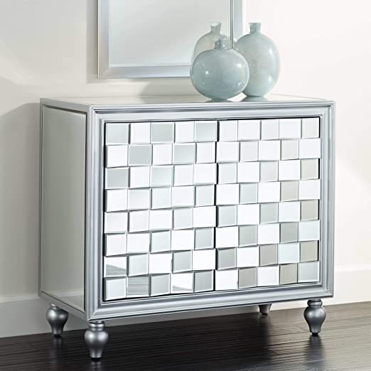 "Amazon.com - Briana 35"" Wide 2-Door Silver Mirrored Cabinet ."