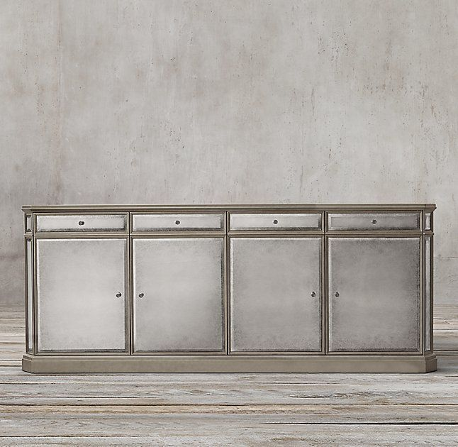 1930s French Mirrored 4-Door Sideboard | Mirrored sideboard .