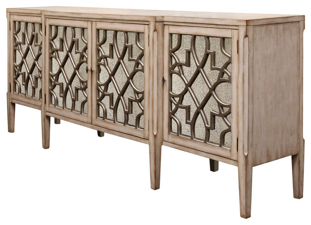 4 Door Breakfront Console, Natural finish with Antique Mirror .