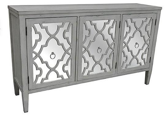 Marissa Antique White Pattern Mirror 3-Door Sideboard .