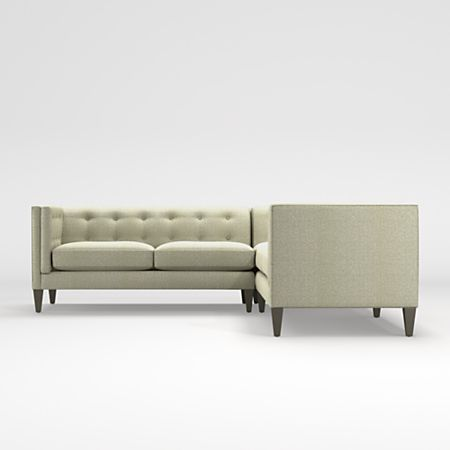 Aidan Grey Tufted Sectional Sofa + Reviews | Crate and Barr