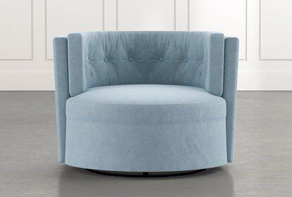 Aidan II Light Blue Swivel Accent Chair | Living Spac