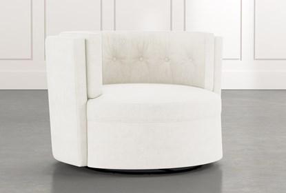 Aidan II White Swivel Accent Chair | Living Spac