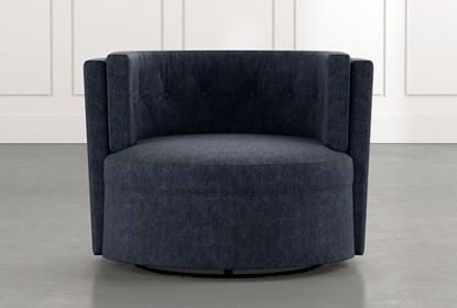 Aidan II Navy Blue Swivel Accent Chair | Living Spac