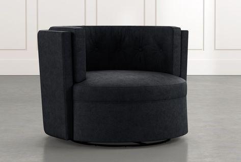 Aidan II Black Swivel Accent Chair - $595 | Accent chairs, Modern .
