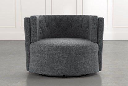 Aidan II Dark Grey Swivel Accent Chair | Living Spac