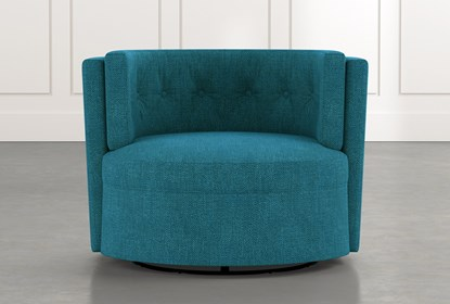Aidan II Teal Swivel Accent Chair | Living Spac
