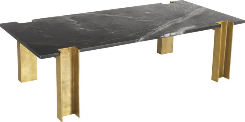 Alcide Rectangular Marble Coffee Table | Black marble coffee table .