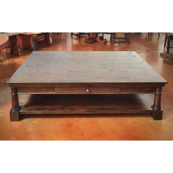 Alder Wood Coffee Table with Drawer – La Casona Custom Furnitu
